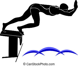 It is drawn in the style of engraving. swimmer athlete. Swimmer. The emblem of the swimmer.  Swimming Silhouette. swim icon.
