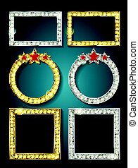 Big set of retro frames with glowing lamps. Collection of...