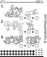 algebra activity coloring page - Black and White Cartoon...