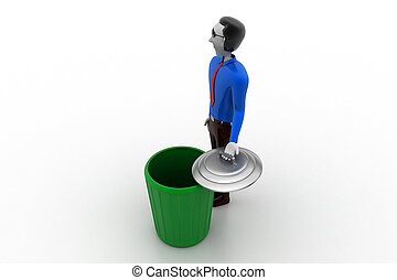 3d white people green recycle trash can