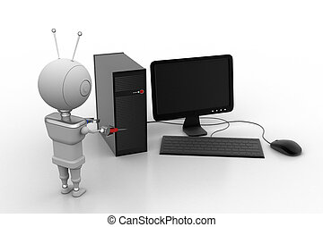 Robot service the computer