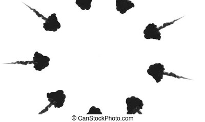 A lot of flows forming ring, ink inject is isolated on white...