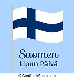 Finnish flag day - Flag of Finland waving in sky. Background...