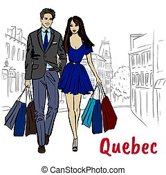 Woman and man with shoping bags. Sketch of St Jean Street in...
