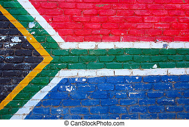 Flag South Africa - A brick wall painted in the colors and...