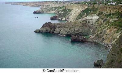Rocky coast on Black sea at sunny day