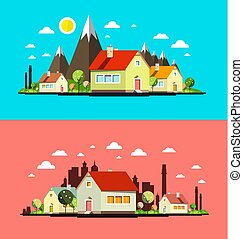 Flat Design City Set. Abstract Towns with Houses.