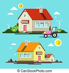 Flat Design House. Houses and Tractor on Village with Mountains and Hills on Background