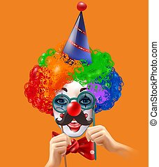 Circus Clown Head Colorful Background Poster - Circus clown...