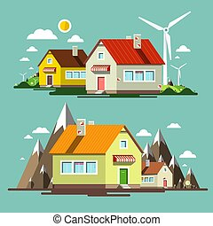 Flat Design Nature Scene with Houses and Wind Mills