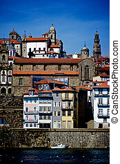 Cityscape of Old Town Porto with Traditional Portuguese...