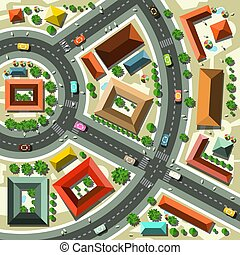Aerial Top View Flat Design Vector Abstract City with Streets, Houses, Cars and People