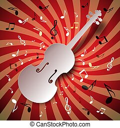 Retro Music Vector Background with Violin and Notes
