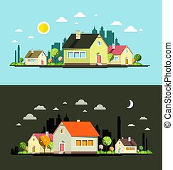 Night and Day Vector Flat Design City with Houses