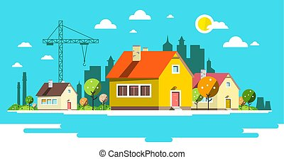 Landscape with Houses. Flat Design City.