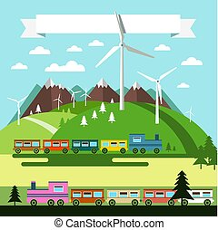 Flat Design Landscape with Trains and Wind Mills