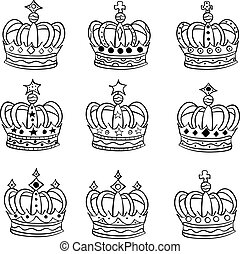 Set of vector hand drawn crowns doodle
