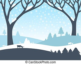 Winter Landscape. Vector Nature Scene with Trees, Roe Deer and Field Covered with Snow.