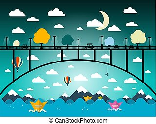 Abstract Vector Flat Design Landscape with Bridge and Ocean