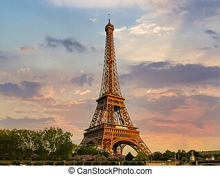 Eiffel Tower in springtime on the sunset
