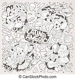 Sketchy vector hand drawn Doodle Latin American doodle...