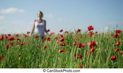 Young woman in poppy field touching flowers