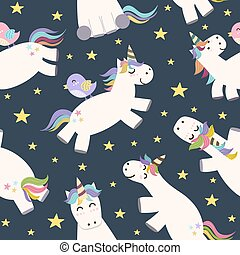 Cute unicorn flying in the sky seamless pattern. Vector...