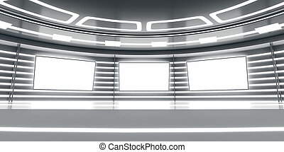 Abstract futuristic interior with glowing panels. 3D...