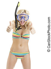 Woman with snorkel gear in bikini giving you thumbs up sign