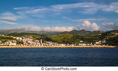 Sea view to Horta marina and city, Faial island, Azores,...