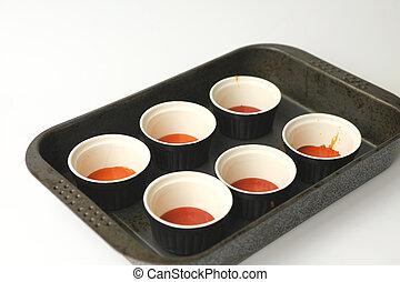 Seis, ollas, Caramelo, horno, bandeja