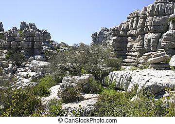 Impressive karst landscape in Spain - El Torcal de Antequera...