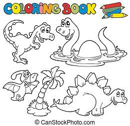 coloração, livro, Dinossauros, 1