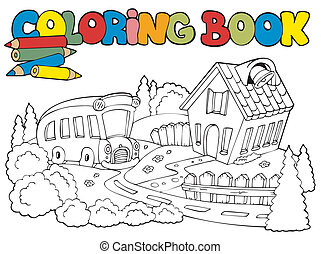 Coloring book with school and bus - vector illustration