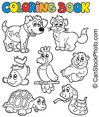 Coloring book with pets 2 - vector illustration