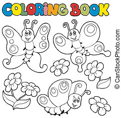 Coloring book with butterflies 1 - vector illustration