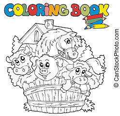 Coloring book with cute animals 2 - vector illustration