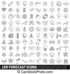 100 forecast icons set, outline style - 100 forecast icons...