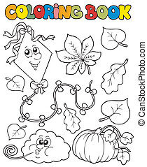 Coloring book with autumn theme 1 - vector illustration.