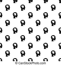 Head with puzzle pattern seamless in simple style...