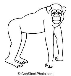 Marmoset monkey icon, outline style - Marmoset monkey icon...