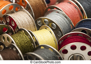 Spools of yarn - Colorful spools of yarn in a close-up