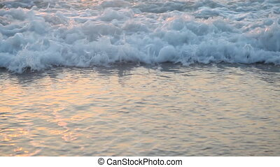 sandy beach waves at sunset Ocean summer