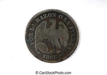 un decimo coin of Chile 1885