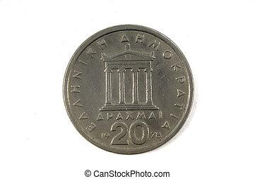dracma,  20,  1978, Grego, moeda, Dracmas