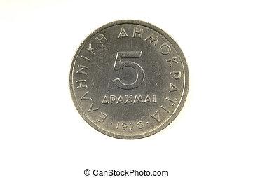 5, Grego, dracma, moeda, Dracmas