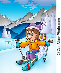 Skiing boy in mountains - color illustration.
