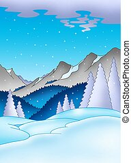 Winter landscape with mountains - color illustration