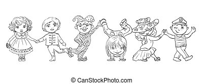 Paper dolls. Vector illustration