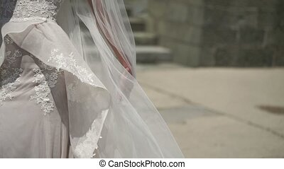 Young bride waving veil at windy day - Young bride waving...